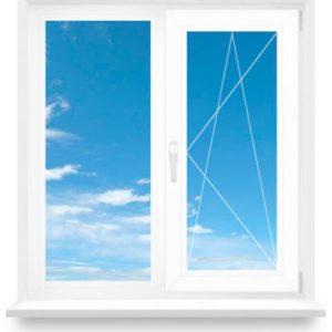 Окна двухстворчатые глухие и открываемые